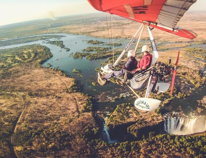Maak een microlight flight boven de Victoria Falls