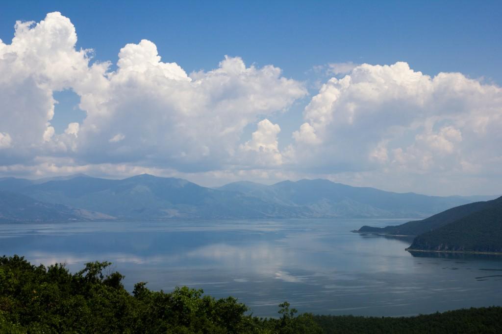 Uitzicht over meer Prespa vanuit Nationaal Part Galichica